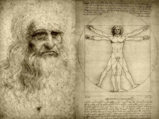 SELF-PORTRAIT OF LEONARDO DA VINCI & THE VITRUVIAN MAN (www.tothewire.files.wordpress.com)