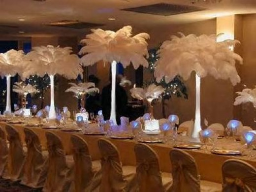 Eiffel tower vases using white ostrich feathers and floralytes
