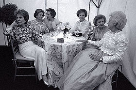First Ladies in 1991 at a Tribute to First Ladies, one week before the death of Jacqueline Kennedy Onassis  Photo courtesy of Wikipedia