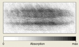"""This """"smudge"""" shows the result of an experiment where a Bose-Einstein condensate of atoms was created in ultra cold conditions."""