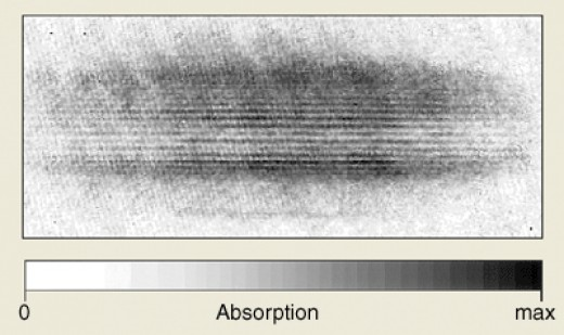 "This ""smudge"" shows the result of an experiment where a Bose-Einstein condensate of atoms was created in ultra cold conditions."