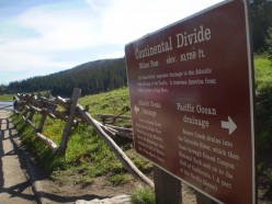 The sign marking the Continental Divide at Milner Pass.