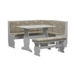 Upholstered Nook Dining Table Set with Microfiber Seat - White Finish