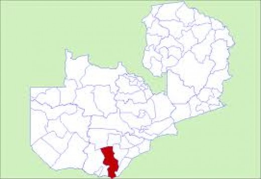 The location of Kalomo on the Zambian map.