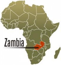 The location of Zambia on the African map.