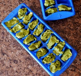 Using ice cube trays to freeze guacamole is easy, quick, and efficient.