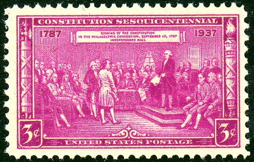 This U.S. Stamp was Issued to Commemorate the 250th Anniversary of the Drafting of the U.S. Constitution.