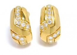 Cartier Earrings Gold Diamonds