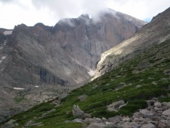 Longs Peak's east face from trail junction to Chasm Lake.