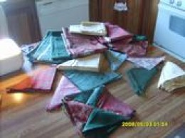 The cut pile of material