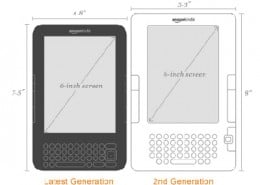Comparison between second generation Kindle and latest generation Kindle