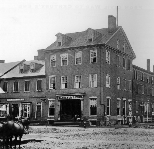 Civial War era picture of the Marshall House, King and Pitt streets, Alexandria, Virginia.