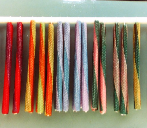 Two Tone Beeswax Taper Candles