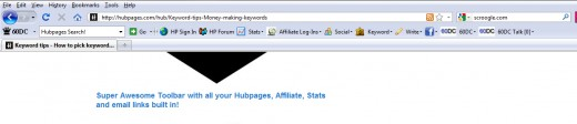 Online Writers Toolbar with a Focus on HubPages (click to see actual size)