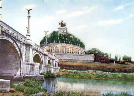 A reconstruction by Prof Staccioli of what the mausoleum and bridge might have looked like originally