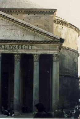 Part of the portico and rotunda of the Pantheon. Photo Tony McGregor