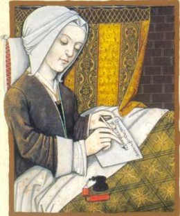 Christine de Pisan, a Parisian woman, who made money from writing poetry after her husband died young