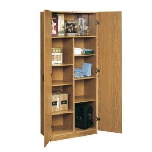 Oak Finish Home or Office Storage Cabinet Organizer