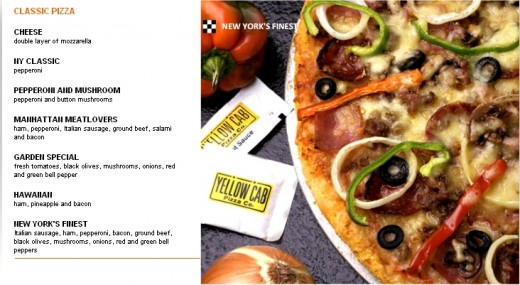 Yellow Cab Philippines Menu