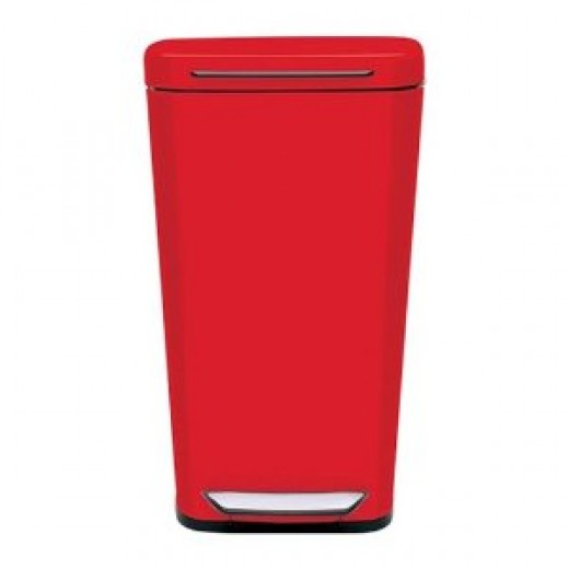 Oxo Good Grips Red Steel Rectangular Trash Can, 10-Gallon