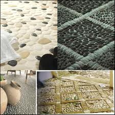Various styles of Natural Stone (pebbled) flooring