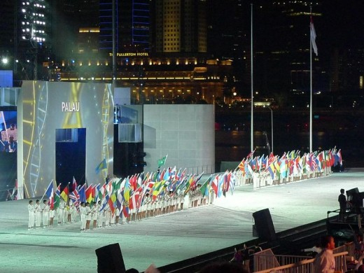 PARADE OF FLAGS for 2010 SINGAPORE YOUTH OLYMPIC GAMES