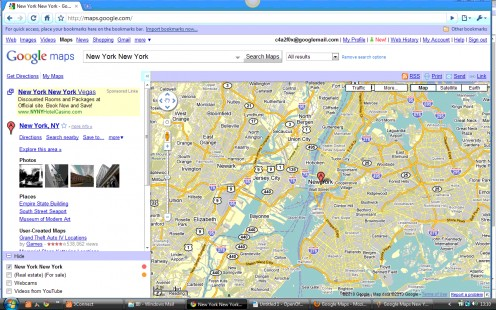 Google Maps Search Page for New York