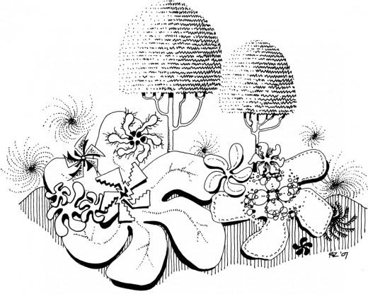 Pinwheel Blooms & Gumdrop Trees, rickzimmerman 2010