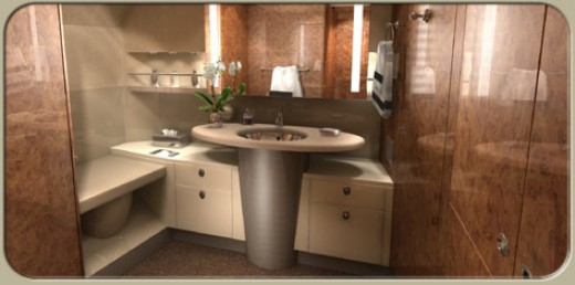 Private jets of the rich hubpages for Private jet bathroom