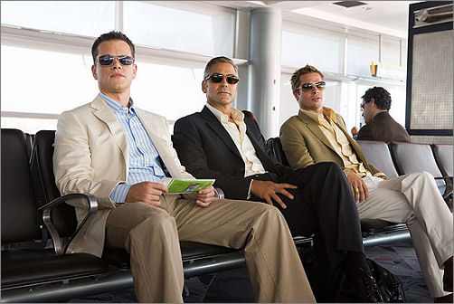 Matt Damon, George Clooney and Brad Pitt in Oceans Thirteen