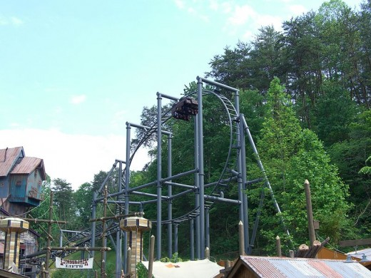 Daylight Finale on the Mystery Mine Rollercoaster at Dollywood