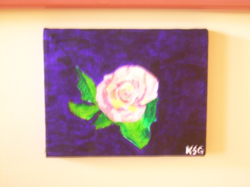 Rose painted in acrylic, by Seafarer Mama