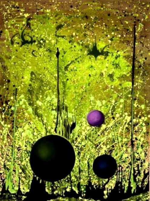 SPHERES EN 'LAIR - Original fluidism painting by Robert Kernodle