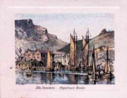 The snoekers, Cape Town Docks. During the snoeking season this corner of the Cape Town docks is a scene of great activity, and the snoekers recall the old sailing days now almost gone.