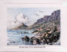 Camps Bay from Oudekraal, C.P. Every visitor to the Cape takes the famous coast drive through Camps Bay and along the sea front to Hout Bay, passing the Twelve Apostles en route.