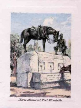 """Horse Memorial"", Port Elizabeth. A bronze memorial to the horses killed in the Boer War of 1899 - 1902."