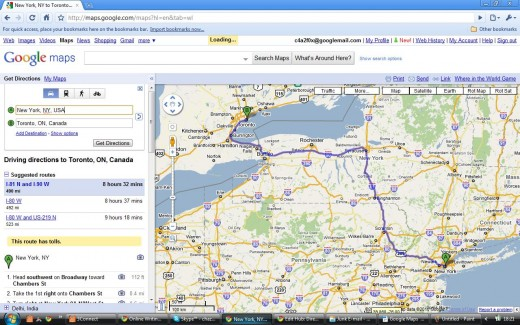 Driving Directions Route - New York to Toronto