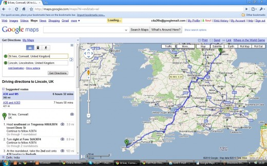 Driving Directions Route - St Ives to Lincoln UK