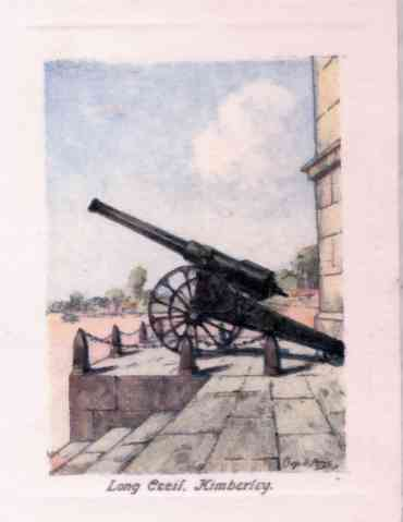 """Long Cecil"", Kimberley. The famous gun made in Kimberley and used during the siege in the S.A. War"