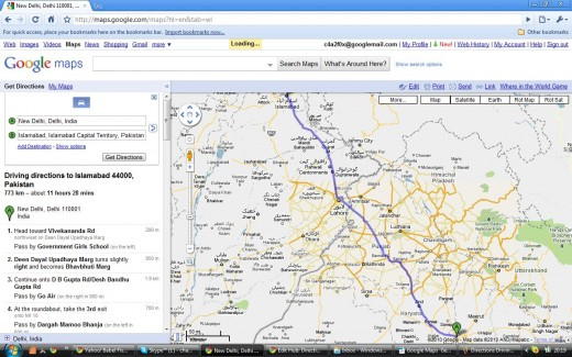 Driving Directions Route - Delhi to Islamabad