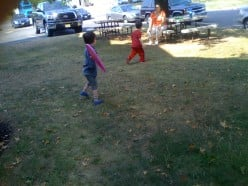 Some of the kids playing with flying saucers