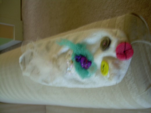 """Betty Lou"" the sock puppet that my daughter and I made together at a National Day of Puppetry festival in Brookline in 2008."