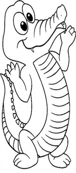 Reptiles for Kids Coloring Pages Free Colouring Pictures to Print  - Cartoon Alligator