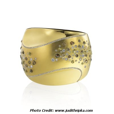 Judith Ripka Gold Cuff Bracelet with Diamonds