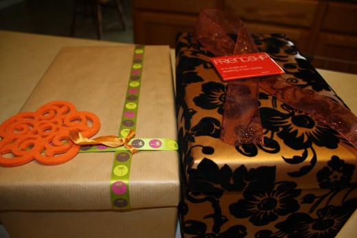 Step ten: Accessorize! Find ribbon and such to complement the colors of your box.