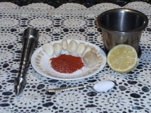 Garlic Chutney Preparation