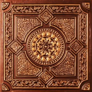 "Faux Tin Antique Copper PVC Ul Rated Ceiling Tile Flat Design Can Be Glue on Clean Smooth Flath Surface, Also Can Glued Over Popcorn Ceiling #303 24""x24"" with Overlaping Edges. Fire Rated!"