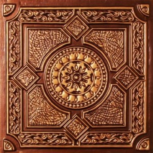 """Faux Tin Antique Copper PVC Ul Rated Ceiling Tile Flat Design Can Be Glue on Clean Smooth Flath Surface, Also Can Glued Over Popcorn Ceiling #303 24""""x24"""" with Overlaping Edges. Fire Rated!"""