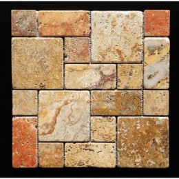 Scabos Travertine 3-Piece Mini-Pattern Tumbled Mosaic Tile