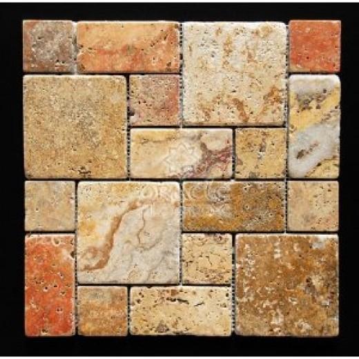 Scabos Travertine 3-Piece Mini-Pattern Tumbled Mosaic Tile